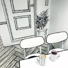 Coooool: Korean Cafe Designed To Look Like A Black And White Pen Drawing - Geekologie House Plans Mansion, Tiny House Plans, Incredible Cartoon, Korean Cafe, New Modern House, Cat House Diy, White Pen, Cool Cafe, Bedroom Green