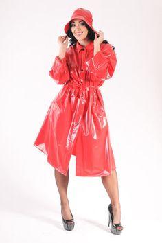 Red PVC Raincoat & Hat