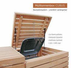 2er Müllbox CUBUS 120 + 240 Liter - Hartholz FSC natur - Baukastensystem für unendlich viele Stellplätze