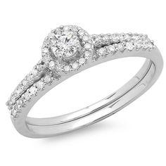 14k 5/8ct TDW Round Diamond Bridal Set (H-I, I1-I2) (Size ), Women's