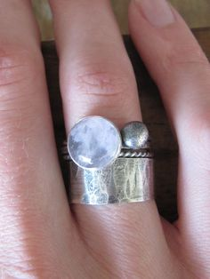 Rose Quartz Ring Silver Stack Ring by RootsJewelry on Etsy, $110.00
