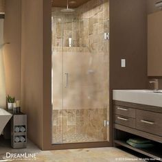 "DreamLine UniDoor Plus 72"" x 35"" Pivot Hinged Shower Door with Hardware Trim Finish:"