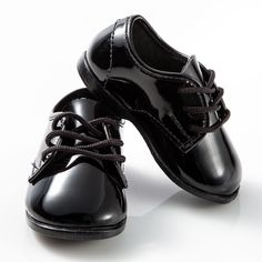 Baby Patent Leather Black Infant Tuxedo Shoes