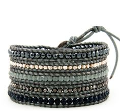 CHAN LUU Special Vetiver Mix Wrap Bracelet on Grey Greek Leather $215