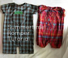 Pickup Some Creativity: Summertime Romper Tutorial - no pattern but v good tute for both versions Sewing Kids Clothes, Sewing For Kids, Baby Sewing, Sew Baby, Diy Clothes, Sewing Patterns Free, Free Sewing, Baby Patterns, Free Pattern