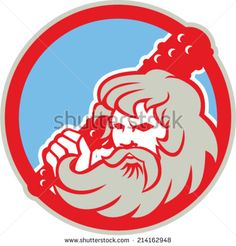 Illustration of Roman divine hero Hercules or Heracles of Greek mythology wielding holding club set inside circle on isolated white background. - stock vector #hercules #retro #illustration