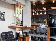 Cozinha pequena também pode ter pegada industrial.