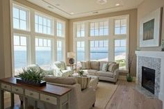 Bungalow Style Home-Sherwin Williams Balanced Beige Coastal Living Rooms, Home Living Room, Living Room Designs, Living Room Decor, Cozy Living, Coastal Homes, Coastal Decor, Dining Room, Best Neutral Paint Colors