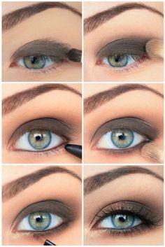 maquillage smoky eyes yeux bleus fard paupieres noir dore – My wolrd Ice Makeup, Grey Eye Makeup, Smoky Eye Makeup, Eye Makeup Steps, Hooded Eye Makeup, Simple Eye Makeup, Makeup For Brown Eyes, Beauty Makeup, Hair Makeup