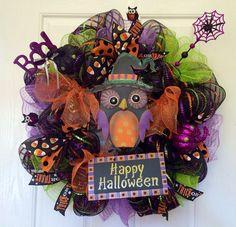 Halloween mesh wreath Happy Halloween Owl Deco Mesh Wreath, Fall wreath on Etsy, $65.00