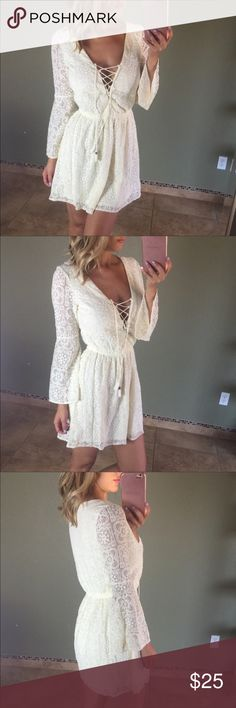 AEO lace dress 💕 Very cute and stylish lace detailed long sleeve dress. I ordered this for my senior pictures and it worked perfectly and looked great! 😊 American Eagle Outfitters Dresses Long Sleeve