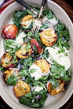 sounds pretty good: Grilled Peach Salad with Buffalo Mozzarella and Arugula