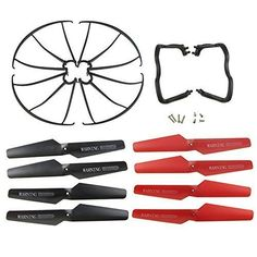 Coolplay Syma Parts X5 X5C X5C-1 Propellers & Protector Guards & Landing Skids Included Mounting Screws for RC Mini Quadcopter Toy- Black and Red:   br Coolplay Spare Parts for Syma X5 X5C X5C-1 Main Blade Propeller & s Propeller Protectors Blades Frame & Landing Skid/b br brUltra durable & light weight brCompletely compatible for Syma X5 X5C X5C-1 RC Quadcopter br Great to have on hand for easier replacement br Come with 8pcs mounting screws for props and blade frame/b br br Package i...