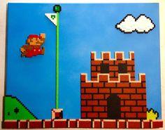 3D Super Mario Bros Victory Flagpole - Perler beads on Canvas by ThePixelArtShop
