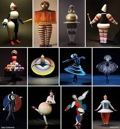 Simple forms and colors from the Bauhaus are transformed into costumes for a ballet. How do these shapes move and interact with each other when the dancers move, and how does the human body within these forms interact with them? Bauhaus Art, Bauhaus Design, Club Fashion, Modernisme, Theatre Costumes, Design Poster, Art Plastique, Costume Design, Wearable Art