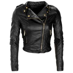 Faux Leather Cropped Incline Zip Ladies Military Biker Jacket Coat Size  Womens