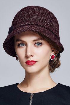 Shop lanshiyu brownish purple bowknot straw stripy cloche hat here 2e0fec2dee92