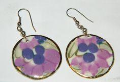 Pair of Round Dangle Earrings w/ a Purple & White Grape Design
