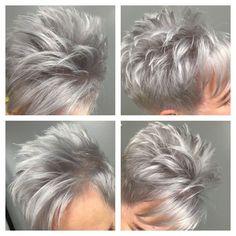 Spiky Gray Pixie For Fine Hair - Hair Beauty - maallure Cute Hairstyles For Short Hair, Short Hair Cuts For Women, Bob Hairstyle, Curly Hairstyles, Asymmetrical Hairstyles, Simple Hairstyles, Older Women Hairstyles, Feathered Hairstyles, Hairstyle Ideas