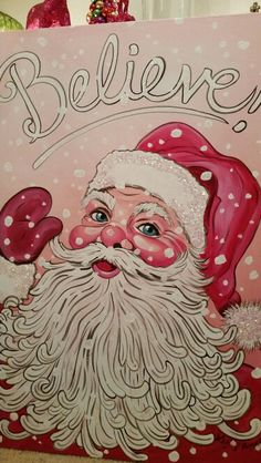Pink old fashioned Santa with chunky glitter canvas by Lezley Lynch Designs, Edmond, OK