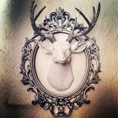 White Faux Taxidermy White Deer with Silver Glitter antlers Deer Head Decor, Faux Deer Head, Deer Heads, Black And White Living Room, Flur Design, Stag Deer, Faux Taxidermy, Taxidermy Decor, Living Room Mirrors