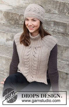 Knitting Paterns, Knitting Stitches, Knit Patterns, Free Knitting, Drops Design, Vest Pattern, Headband Pattern, Drops Kid Silk, Knit Crochet