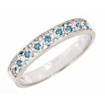 0.11ct Pave Set Blue Diamond Wedding A