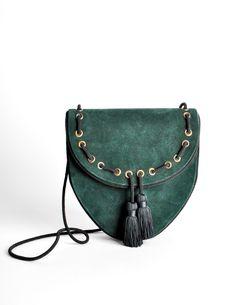 Yves Saint Laurent Vintage Green Suede Crossbody Bag