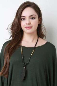 Braided Leather Feather Pendant Necklace