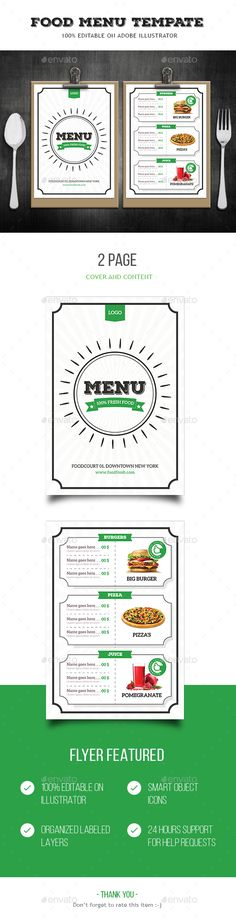Green Food Tri-Fold Brochure Tri fold brochure template, Tri - food brochure