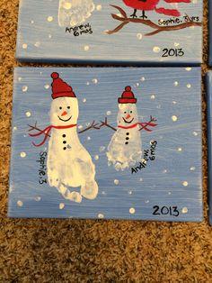 Snowman footprint grandparent gift