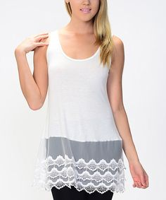 Another great find on White & Gray Lace-Hem Tank by Bellino Toddler Girl, Dressing, Feminine, Dresses For Work, Tunic Tops, My Style, Lady, Clothes, Sisters