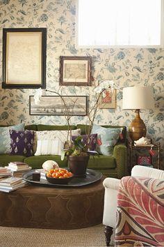 Peter Dunham; Carolina Irving wallpaper (love the contrast of the velvet green sofa w/nailheads against the wallpaper)