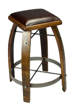 Made from reclaimed wine barrel, each stool is unique!