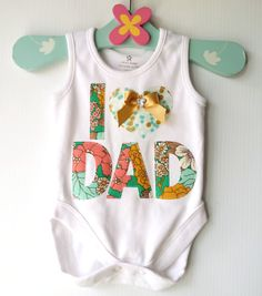 Fathers Day Baby Onesie I 'heart' Dad Baby New by LilBirdieShop, $24.00