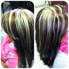 Light warm brown hair color with blonde highlights