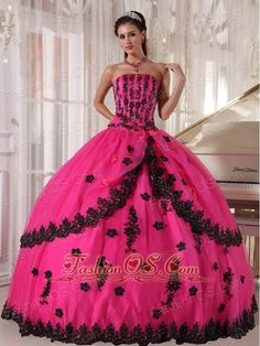 Perfect Hot Pink Quinceanera Dress Strapless Appliques Ball Gown  http://www.facebook.com/quinceaneradress.fashionos.us  http://www.youtube.com/user/fashionoscom?feature=mhee   This enticing quinceanera ball gown a strapless neckline. The bodice was accented with appliques. The margin of the outlayer tulle of the skirt was also decorated with black appliques, which draws lots of interest to this part. The bodice of the back of this dress has a grace lace up closure.