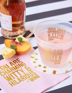 You are charming, witty, & hilarious –wine frost flex cup and coordinating beverage napkin...yes, please!