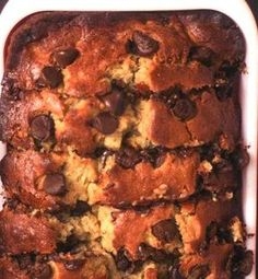 Banana Chocolate Chip Cake. Canola oil can be used instead of butter for a healthier and lighter recipe.