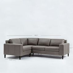 York 3-Piece Leather Sectional | West Elm