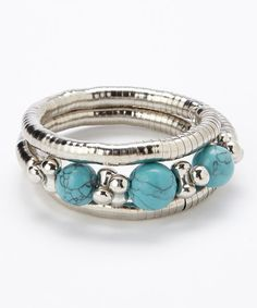 Turquise & Silver Ball Coil Bracelet