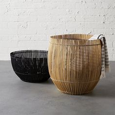 yuzo natural bamboo basket | CB2  ~ Great pin! For Oahu architectural design visit http://ownerbuiltdesign.com