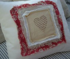 "PaRiS French Toile 18"" Cottage Shabby Chic HeaRT on White Denim PiLLoW. $55.00, via Etsy."
