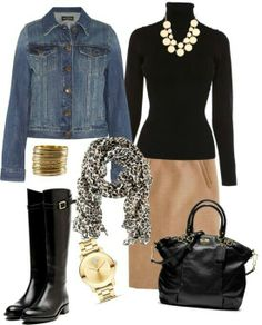 fashion, cloth, style, black boots, jean jackets, riding boots, pencil skirts, brown boots, work outfits