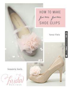 DIY Shoe Clips: Chiffon Pom Poms | CHECK OUT MORE IDEAS AT WEDDINGPINS.NET | #weddings #diyweddings #diy