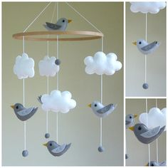 Woodland Baby Mobile Bird Nursery Mobile Grey Baby Mobile