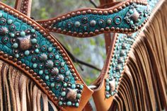 Luan's Leathers cowboy headstall and cowboy breast collar with fringe