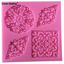 Neue Ankunft Mode Spitze Blume Form 3D Silikon Fondantform Kuchen Dekorieren Tools Kuchen-Form-C585(China (Mainland))
