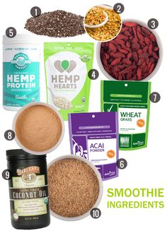 1. Organic Chia Seeds // 2. Bee Pollen Granules // 3. Organic Goji Berries // 4. Shelled Hemp Hearts // 5. Vanilla Hemp Protein Powder // 6. Acai Powder // 7. Wheat Grass Powder // 8. Raw Maca Powder // 9. Organic Extra Virgin Coconut Oil // 10. Sprouted Flax Powder
