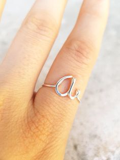 Letter A Lowercase Sterling Silver Ring Silver Initial A Ring Personalized Gold Name Ring Wedding Bridesmaid Initial Ring Custom letter d&de